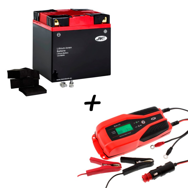 Bateria de litio YIX30L-BS + Cargador de litio JMP SKAN 4.0 para moto